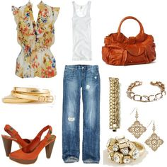 Polyvore.com - Love this, you can slip on a pair of flats or flip flops if needed later in the day. So fun!