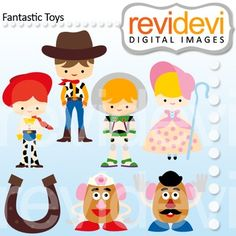 Clip Art: Toy story inspired (woody, jessie, buzz lightyear, potato head). Collection of cute clip art inspired by toy story characters.These cliparts are great for teachers and educators for creating their school and classroom projects such as for bulletin board, printable, worksheet, classroom decor, craft materials, activities and games, and for more educational and fun projects.You will receive:- Each clipart saved separately in PNG format, 300 dpi with transparent background.- Each ...