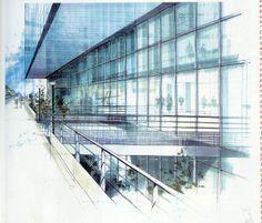 Bamboo Architecture, Museum Architecture, Architecture Design, Drawing Interior, Interior Sketch, Watercolor Drawing, Watercolor Illustration, Architecture Drawing Sketchbooks, Conceptual Drawing