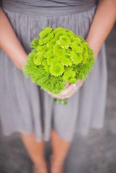 Green button mum bouquet