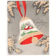 Vintage 1940s Glittered Christmas Card Bell with Snowy House Scene Tan Red Gray