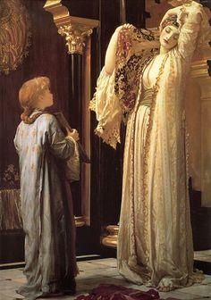"""""""Come è pallida la principessa! Mai l'ho veduta così pallida. Sembra il riflesso di una rosa bianca in uno specchio d'argento""""  Salomè - O. Wilde  (painting by Leighton - Light of the harem)"""