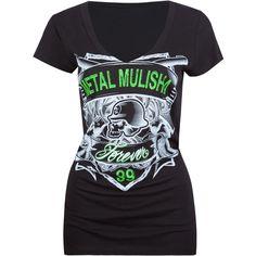 METAL MULISHA Gunslinger Womens Tee ($19) ❤ liked on Polyvore featuring tops, t-shirts, tees, women, cotton v-neck tee, metal mulisha tees, v neck tops, short sleeve tops and metal mulisha t shirts