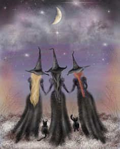 Gothic Fantasy Art ACEO PRINT Witches Ritual Occult Candles Night Stars Women