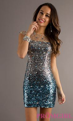 Short Beaded Dress with Open Back  at PromGirl.com