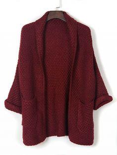 Burgundy Lapel Pocket Detail Open Front Long Sleeve Knit Cardigan Dresses #Tops #Swimwear #Jeans #Jackets #Skirts #Shoes