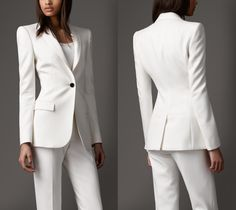 Burberry Suits For Women, Jackets For Women, Clothes For Women, Classic Outfits, Stylish Outfits, White Wedding Suit, White Suits, Work Chic, Professional Attire