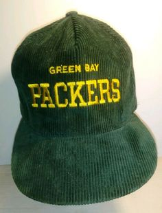 new style 3e184 34234 Vintage Green Bay Packers Corduroy Snap Back Hat gold lettering AJD  Embroidery