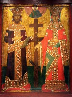 """Constantine """"The Great"""" and his mother, St. Byzantine Icons, Byzantine Art, Religious Icons, Religious Art, Constantine The Great, St Constantine, Medieval Paintings, Art Through The Ages, Icons"""