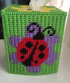 Plastic Canvas Tissue Boxes, Plastic Canvas Crafts, Plastic Canvas Patterns, Bugs And Insects, Tissue Box Covers, Covered Boxes, Handmade Items, Handmade Gifts, Ladybug