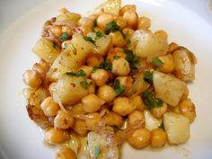 Receta para ensalada de papas con garbanzos