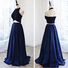2 Piece Navy Blue Long Prom Dresses Unique Design Halter Neck Open Back robe de bal longue CS263