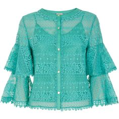 Temperley London Desdemona Lace Blouse ($565) ❤ liked on Polyvore featuring tops, blouses, shirts, gypsy blouse, lacy shirt, lace top, shirt blouse and blue shirt
