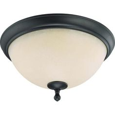 Glomar 3-Light Aged Bronze Flush Dome with Biscotti Glass-HD-2794 - The Home Depot