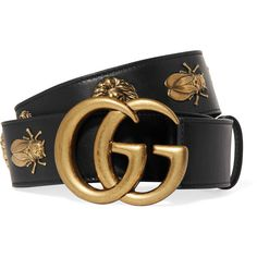 Gucci Embellished leather belt ($750) ❤ liked on Polyvore featuring accessories, belts, logo belts, genuine leather belt, gucci, leather belt and buckle belt