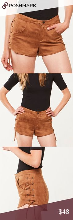 BB Dakota Tan Faux Suede Lace-Up Shorts NWT - never worn. Jack by BB Dakota Tan Faux Suede Lace-up shorts. Low rise shorts on a Suede fabrication. Banded waistband, pockets. Lace-up detail at sides. Zipper fly & snap closure. 100% polyester. Size 2. No modeling/trades. Jack by BB Dakota Shorts