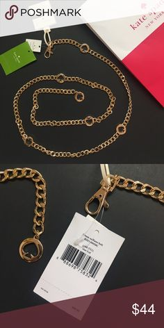 """Kate Spade Signature Gold Chain Belt NWT 20 mm saffiano belt gold tone plated brass  adjustable sizing,  Wear loose or tight   Total length of s/m 42"""", m/l 45"""", l/XL 47"""". New with tags kate spade Accessories Belts"""