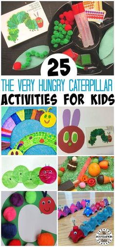 A fantastic collection of The very hungry caterpillar activities. These preschool activities are a great way to extend children's learning and interest in books and caterpillars. science for preschoolers preschool activities preschool crafts kindergarten Preschool Art Projects, Craft Activities For Kids, Toddler Activities, Preschool Activities, Kindergarten Literacy, Kids Crafts, Book Activities, Preschool Plans, Craft Ideas