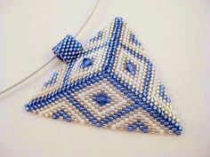 Peyote Triangle Pendant in Blue White and Silver