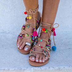 """RiRiPoM, Boho Sandals, Pom Pom Sandals, Tassels Sandals, Gold Sandals, Gypsy Sandals, Tie Up Gladiator Sandals,Greek Sandals, """"Kirki"""""""