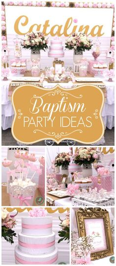 What a beautiful bird themed baptism party in pink! See more party planning… Baptism Party Girls, Baptism Themes, Christening Decorations, Christening Party, Baby Girl Baptism, Baptism Ideas Girls, Dedication Ideas, Baby Dedication, Baby Shower
