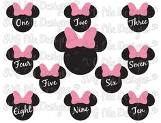 Minnie Mouse Ears Birthday One Thru Ten Disney Numbers Font Cutting File Set in Svg, Eps, Dxf, Png, and Jpeg for Cricut and Silhouette
