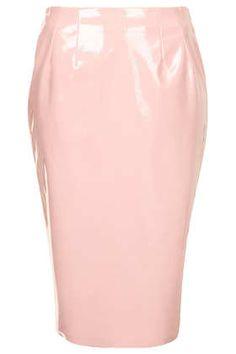 Pale Pink Vinyl Pencil Skirt