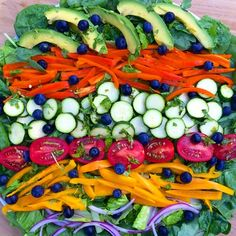 Rainbow salad for dinner! Greens, bell peppers, zucchini, tomatoes, cilantro, avocado, blueberries, and onion! New video is up: 7 Day RESET Introduction!YouTube.com/rawvanaeng