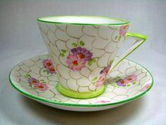 Phoenix China T.F & S Ltd England Tea Cup and Saucer Pink & Purple Flowers picclick.com