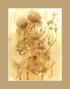Jesienne inspiracje -  watercolour painted with coffee  http://www.artmarylacoffee.pl/
