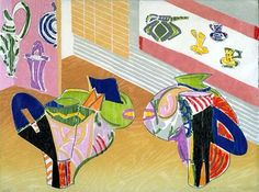 Betty Woodman, color woodcut with chine colle, 1997