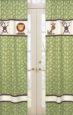 Jungle Time Green Leaf Print Window Panels By Sweet Jojo Designs