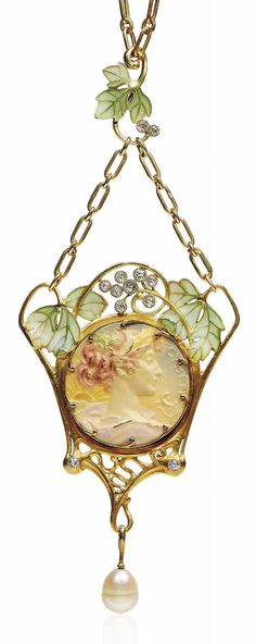 HENRI VEVER - AN ART NOUVEAU ENAMEL, DIAMOND AND PEARL PENDENT NECKLACE, CIRCA 1905. Centring a varicoloured enamelled medallion depicting the profile of Cybele, set within an openwork foliate surround with diamond accents and green window enamel leaves, suspending a pearl drop, with French assay marks for gold, signed Vever Bottée.