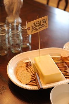 adorable housewarming party - cheese/wine scattered around the house so wandering guests can snack in every room... plus handmade cheese labels