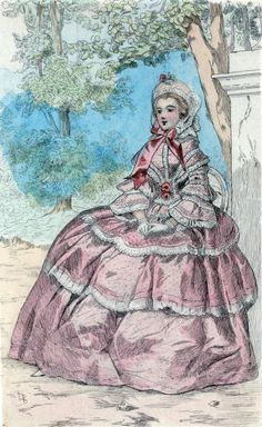 1854 [Women's fashion in nineteenth-century Paris] From New York Public Library Digital Collections. Victorian Era Fashion, 1850s Fashion, Victorian Women, Victorian Art, French Fashion, Vintage Fashion, Paris Poster, Cinderella Costume, 19th Century Fashion