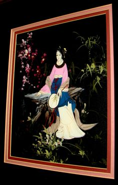 WONDERFUL RARE Original Woman Chinese/Oriental Oil Painting Canvas, signed in Chinese Characters, stamped with a red seal, Man Ling Original