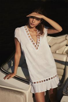 V-neck beach skirt bikini blouse holiday seaside sunscreen MiniDress  #maxi #style #cute #bohemiastyle #boho #bohemia #love #happy #stylish #hashtag