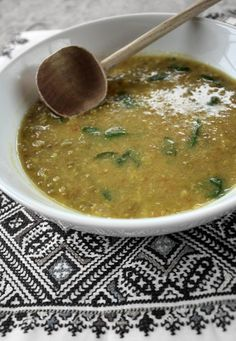 Moroccan Mung Bean & Spinach Soup Recipe.