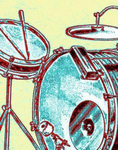"Drum Zoom - Drummer Art - 11"" x 14"" Archival Print."
