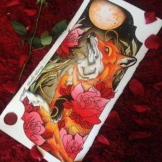 The midnight foxie #tattoo #flashtattoo #flashworkers #neotrad #neotradsub #neotradflash #neotraditional #oldlines #fox #foxtattoo #watercolor