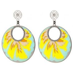 Earrings - silver plated - Mixed colours enamel with swarovski crystals L 7 cms W 5 cms $235.00 tax incl
