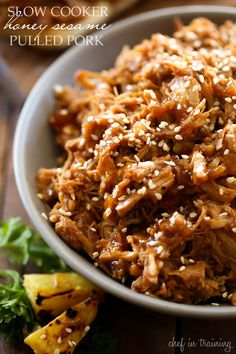 Slow Cooker Honey Sesame Pulled Pork from chef-in-training.com ...This meal is SO delicious, easy and PERFECT for a busy day!