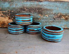 Napkin Rings Turquoise Distressed Wooden Set by turquoiserollerset, $8.00