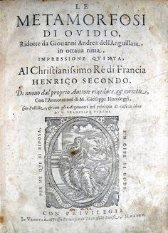 Ovidio - Le Metamorfosi ridotte da Giovanni Andrea dell'Anguillara - 1575