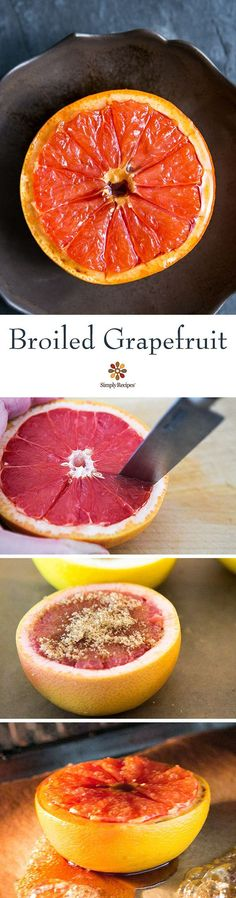 Ever broiled a grapefruit? It's easy -- halve a grapefruit, sprinkle the tops with brown sugar, and broil for 3 to 5 minutes. Violá! Tart, juicy fruit with a sweet caramelized top. Get the recipe from @simplyrecipes