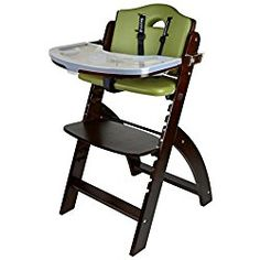 Abiie Beyond Wooden High Chair With Tray. The Perfect Adjustable Baby Highchair Solution For Your Babies and Toddlers or as a Dining Chair. (6 Months up to 250 Lb) (Mahogany Wood - Olive Cushion)