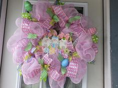 SALE - Large Pink and Pastel Deco Mesh Easter Wreath - Bunnies, eggs and glitter!