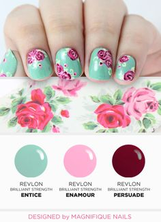 Revlon 'Elegance is a State of Mind' Manicure featuring (from left): Revlon 'Entice' Revlon 'Enamour' and Revlon 'Persuade' Spring Nails, Summer Nails, Diy Nails, Cute Nails, Floral Nail Art, Manicure Y Pedicure, Flower Nails, Creative Nails, Gorgeous Nails