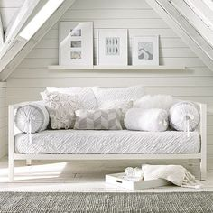 neutral day bed & round cushions