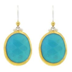 Gurhan Oval Rose Cut Turquoise Earrings ($525) ❤ liked on Polyvore